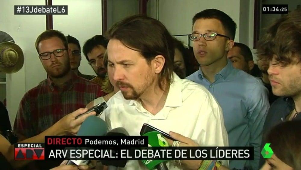 Pablo Iglesias tras el debate 13J