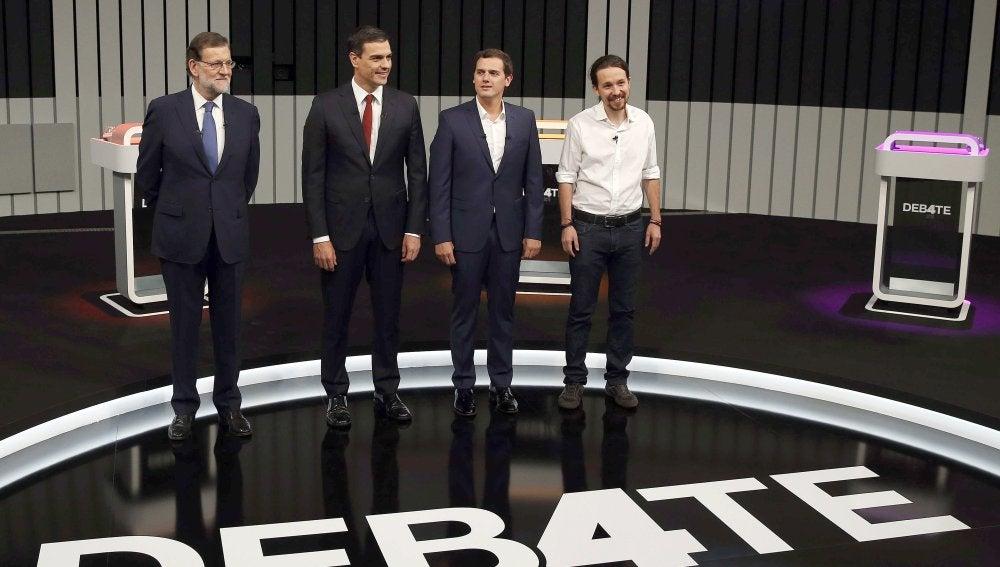 Mariano Rajoy, Pedro Sánchez, Albert Rivera y Pablo Iglesias, en el debate a cuatro