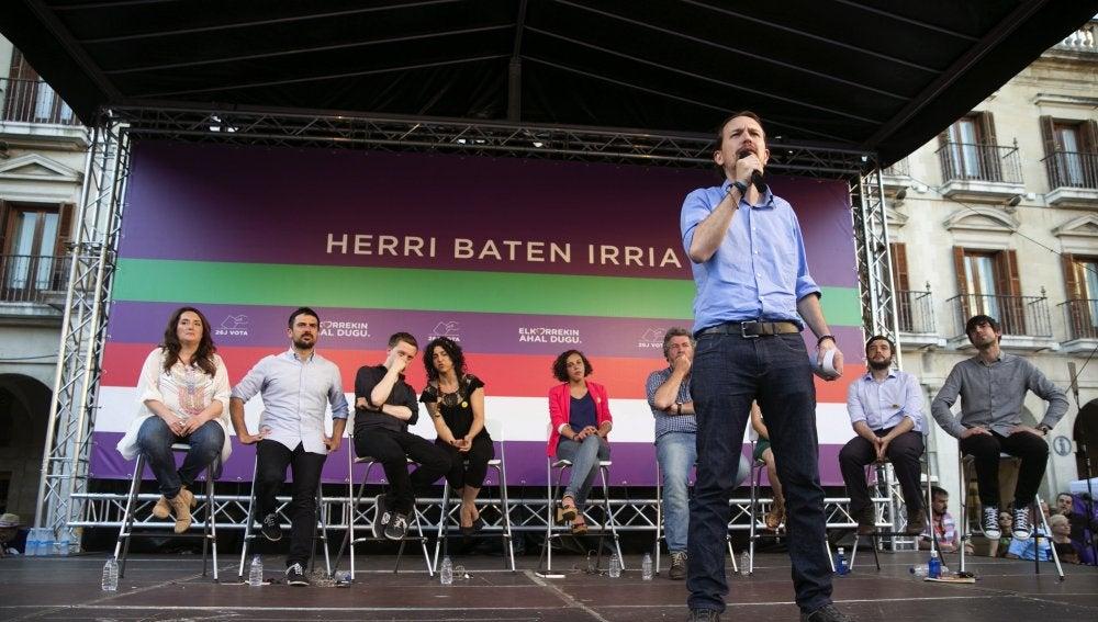 Pablo Iglesias, líder de Podemos, en el País Vasco
