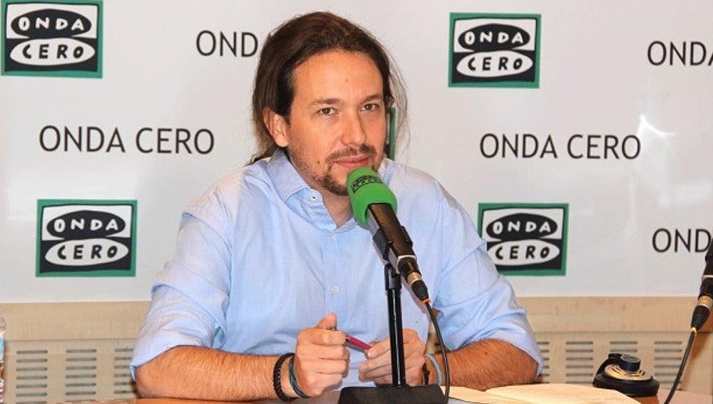 Pablo Iglesias durante una entrevista en Onda Cero