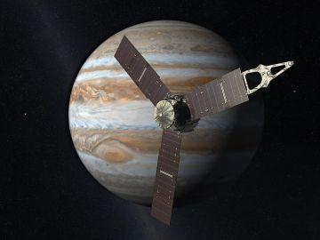 Representación artística de la sonda Juno con Júpiter al fondo