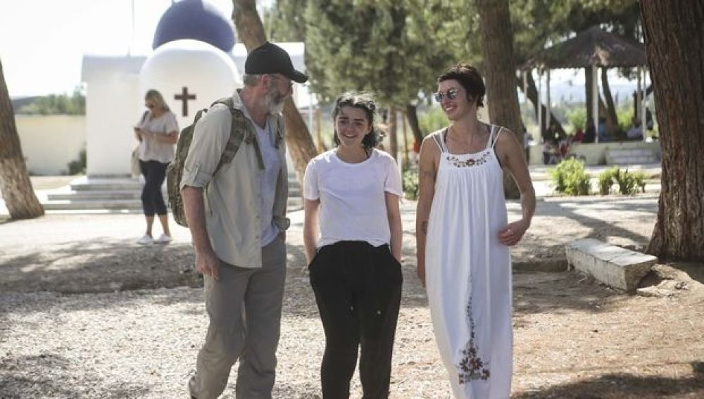 Lena Headey (Cersei Lannister), Maisie Williams (Arya Stark) y Liam Cunningham (Davos Seaworth) en Lesbos