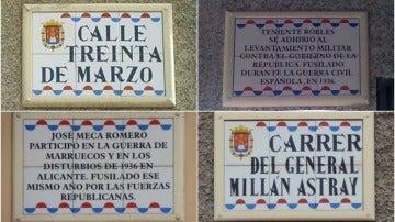 Calles franquistas en Alicante