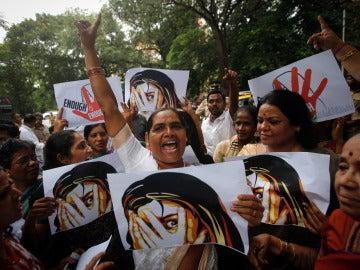 Imagen de archivo de una protesta contra las violaciones en la India