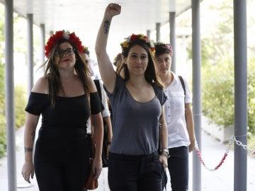activistas de Femen, a su llegada al Juzgado de lo Penal