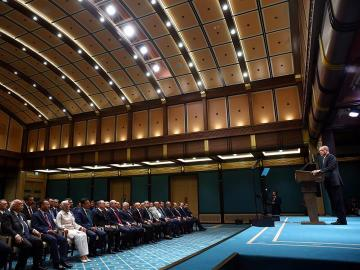 Erdogan, hablando durante una conferencia de prensa tras una reunión de su gabinete en Ankara