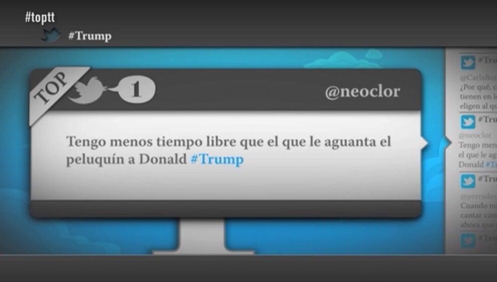 """Frame 52.95205 de: @neoclor: """"Tengo menos tiempo libre que el que le aguanta el peluquín a Donald Trump"""""""