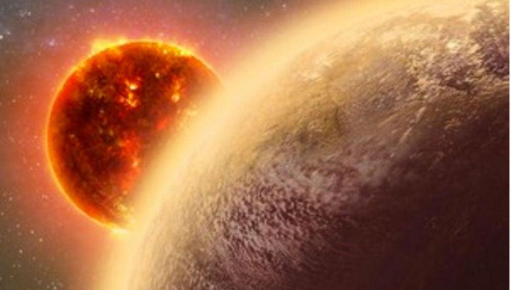 Exoplaneta con atmósfera girando alrededor de una estrella enana rojaExoplaneta con atmósfera girando alrededor de una estrella enana roja