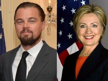 Leonardo DiCaprio y Hillary Clinton