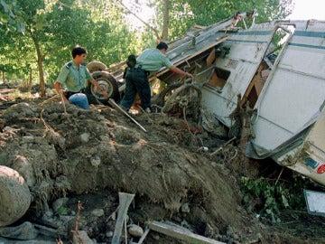 Una caravana que sufrió la riada del camping de Biescas