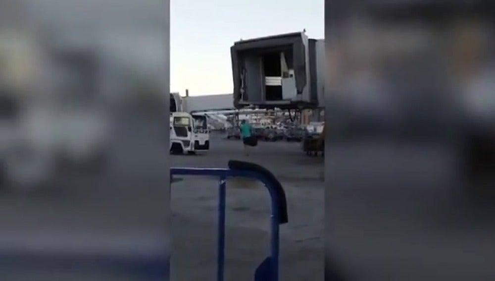 Frame 14.198563 de: Un pasajero salta desde el puerto de embarque a la pista en el aeropuerto de Madrid para parar el avión