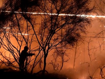 Un bombero intenta apagar un incendio