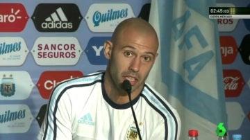 Mascherano, en una concentración de la Selección Argentina