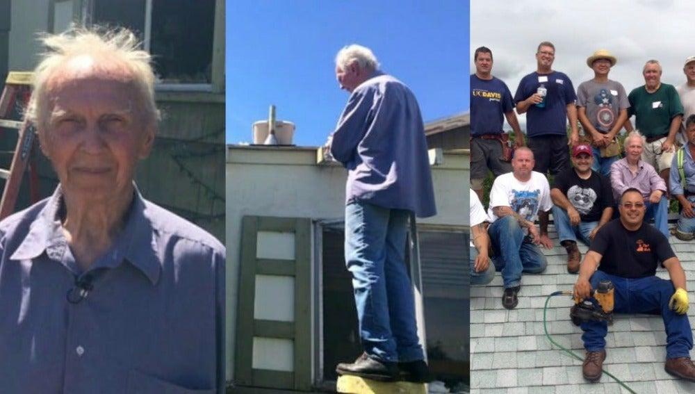 Reparan el tejado de un anciano
