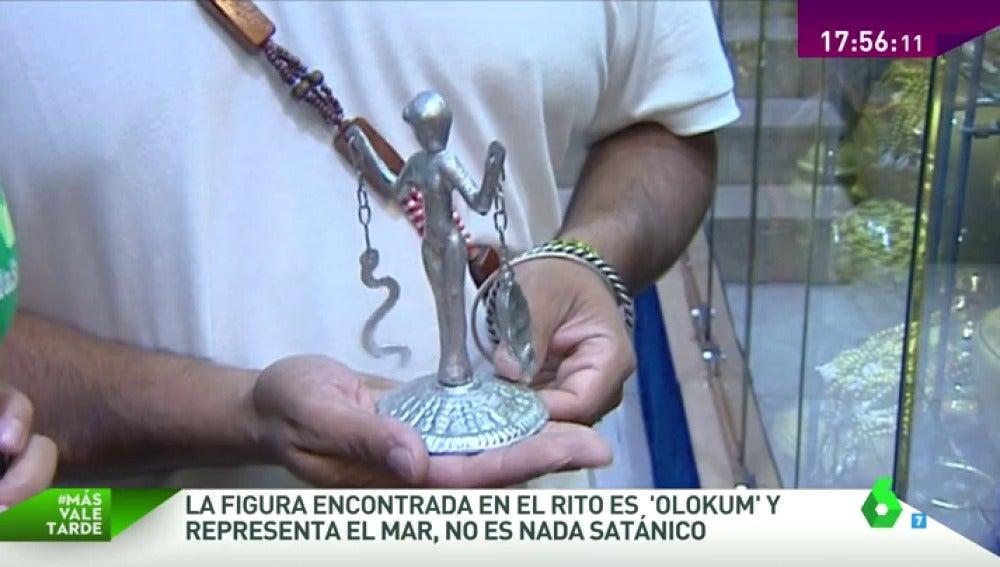 Frame 43.032681 de: Olokum, la estatua de un santo cubano encontrada en Calpe con restos humanos que representa los océanos