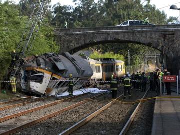 Descarrilamiento de un tren en O Porriño
