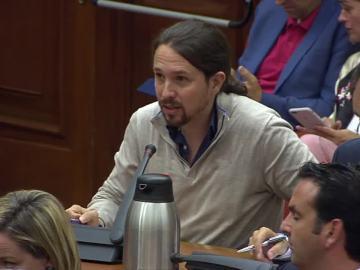 Pablo Iglesias, a Luis de Guindos: ¿Cómo podía saber laSexta antes del concurso que Soria era el candidato?