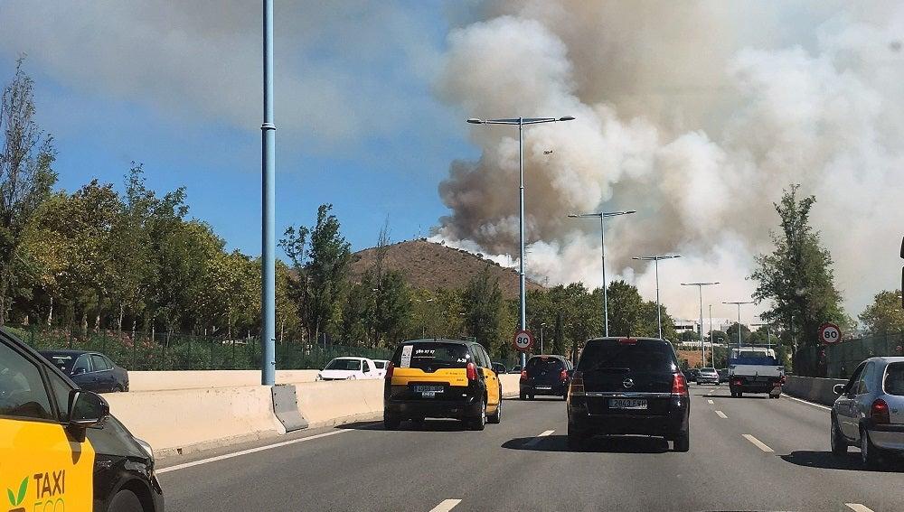 Incendio en el parque de Collserola, en Barcelona