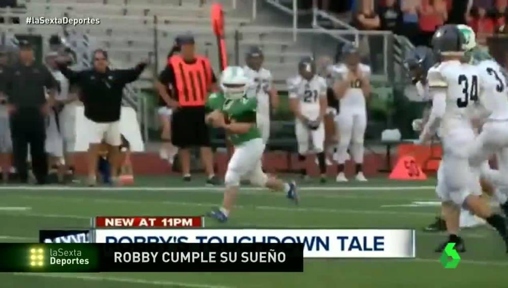 Un chico con síndrome de Down hace un 'touchdown' y se lo dedica a su madre.