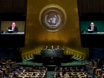 El secretario general de las Naciones Unidas, Ban Ki-moon, durante una cumbre