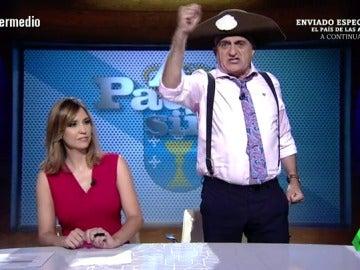 """Frame 97.905898 de: El Gran wyoming, el Rajoy más popular: """"Reivindicar que sois del PP. Somos los negros de España, al menos, Mato y Arenas"""""""