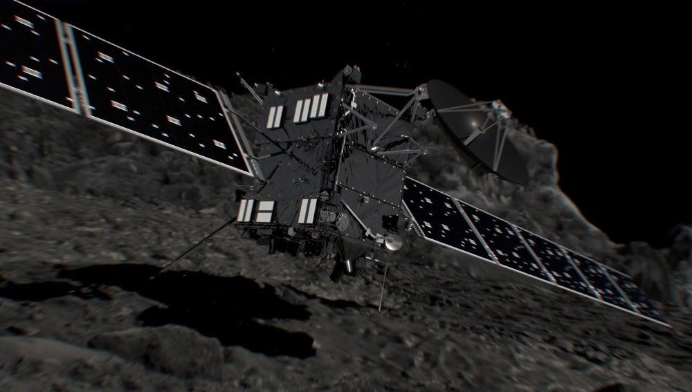 Recreación del impacto de Rosetta contra el cometa