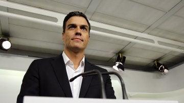 El secretario general del PSOE, Pedro Sánchez, en su primera intervención desde la dimisión de 17 miembros de la Ejecutiva