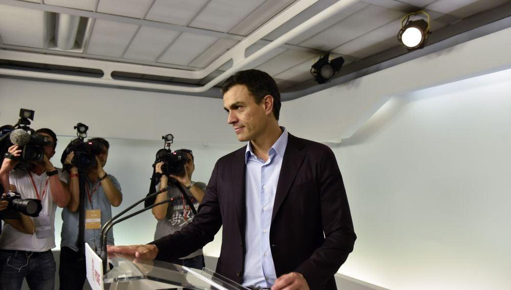 Pedro Sánchez, en su comparecencia tras dimitir como secretario general del PSOE