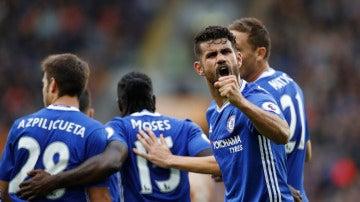 Diego Costa, celebrando su gol ante el Hull City
