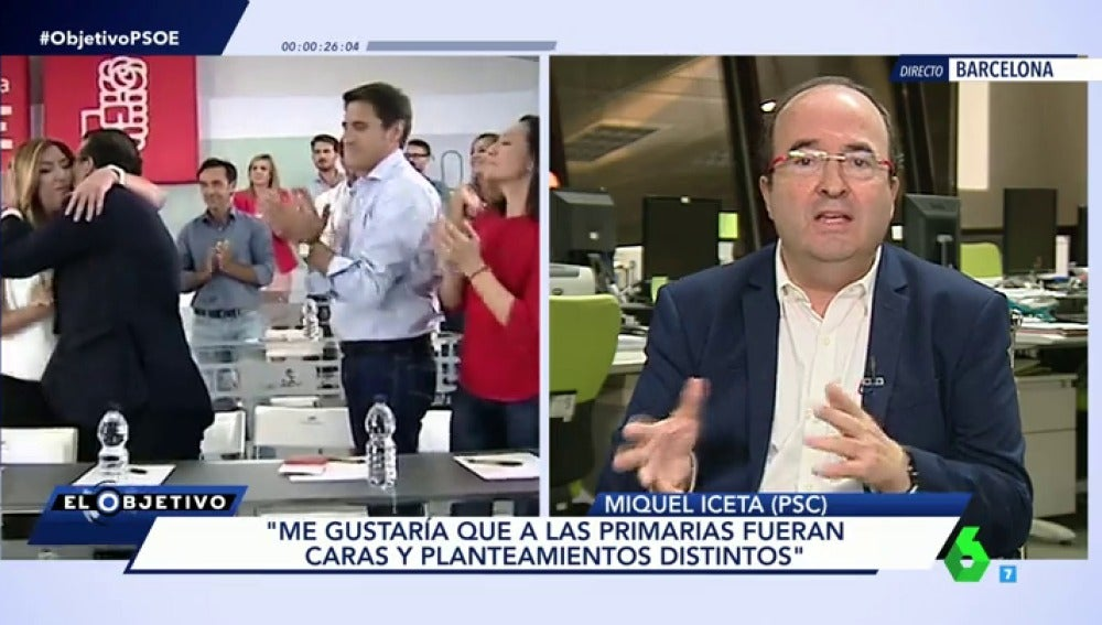 """Frame 82.285783 de: Miquel Iceta: """"Me gustaría que a las primarias fueran caras y planteamientos distintos"""""""