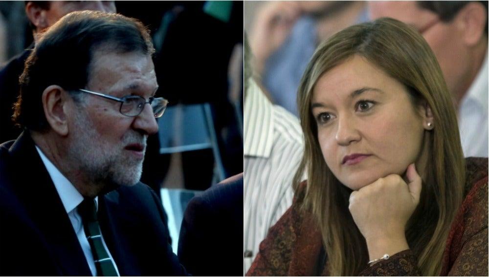 Mariano Rajoy, presidente en funciones, y Verónica Pérez, presidenta del Comité Federal del PSOE