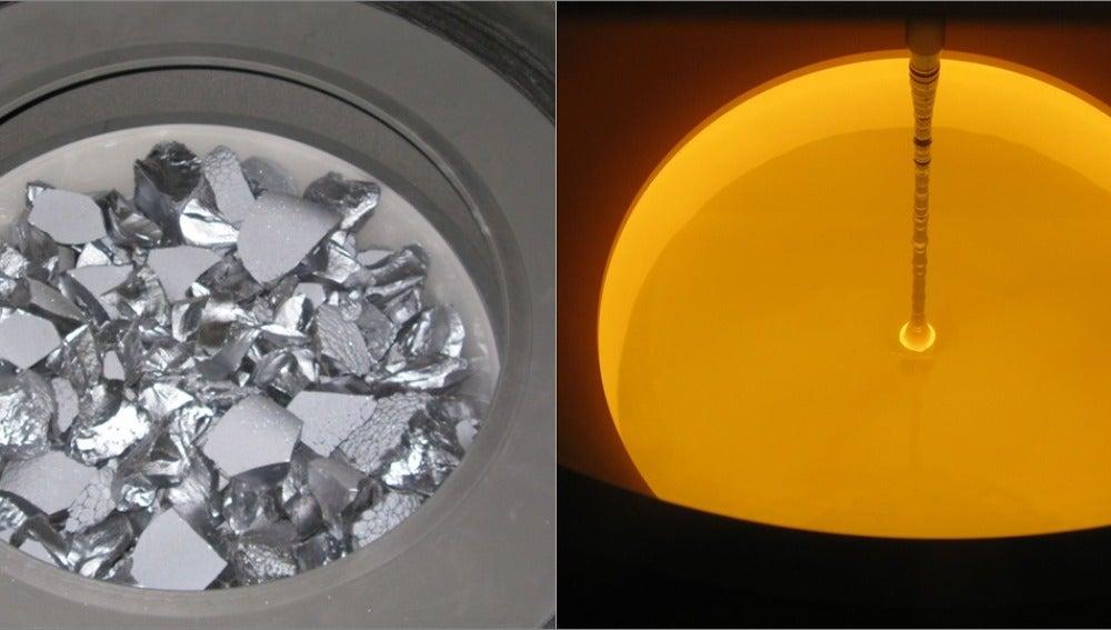 Aspecto del silicio antes y después de f