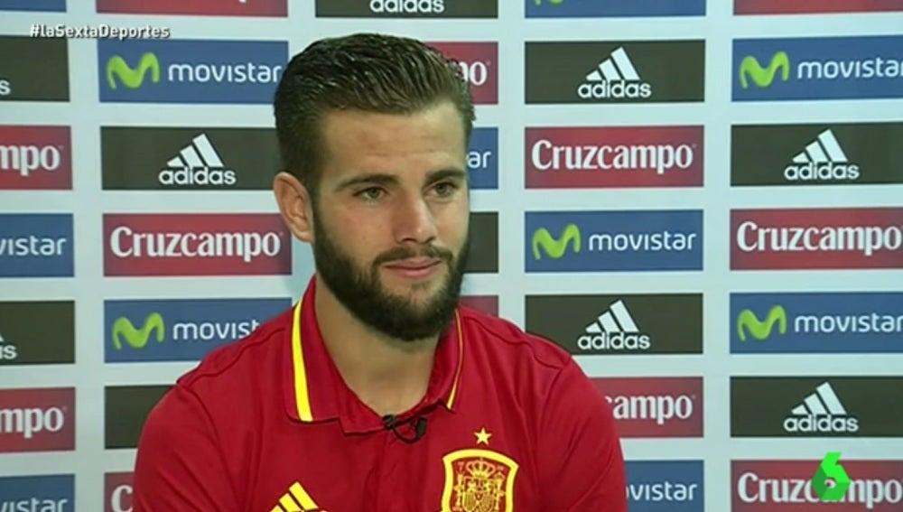 Nacho, durante la concentración de la Selección española