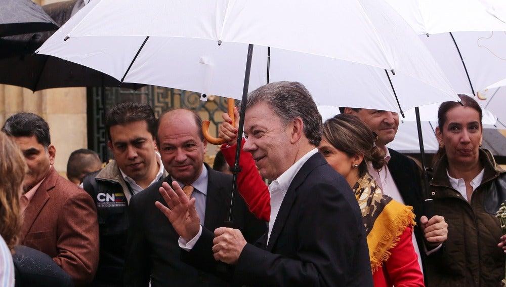 El presidente de Colombia Juan Manuel Santos antes de la votación