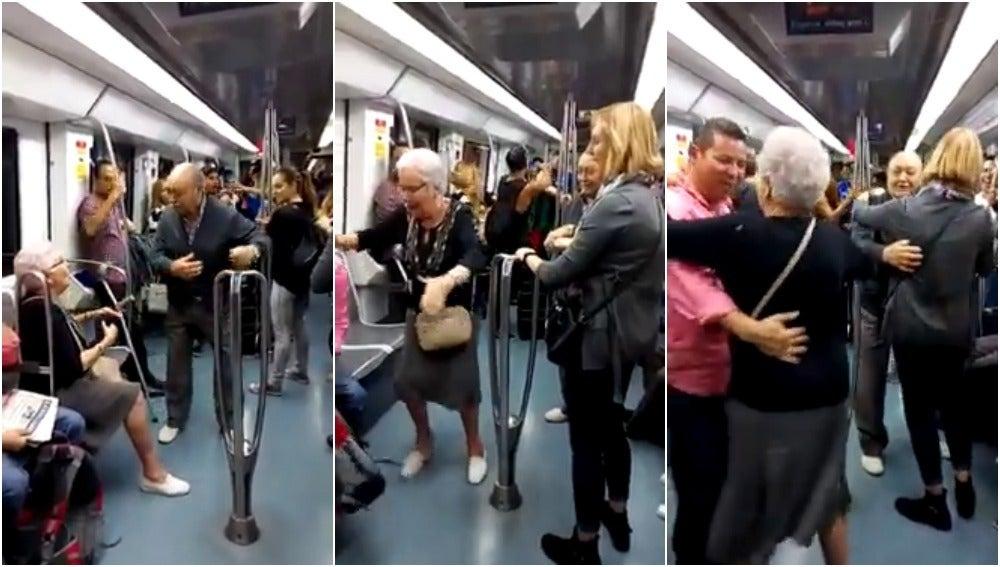 Una pareja de abuelos se anima a bailar en el metro