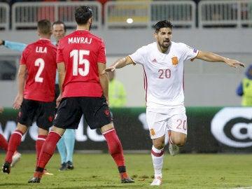 Nolito, celebrando el 0-2 ante Albania