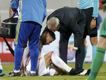 Sergio Ramos se retiró lesionado del Albania - España