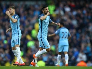 Nolito celebra un gol con el Manchester City