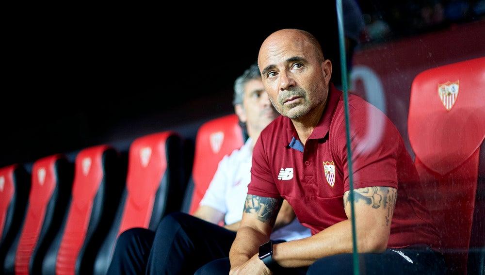 Jorge Sampaoli, en el banquillo del Sevilla
