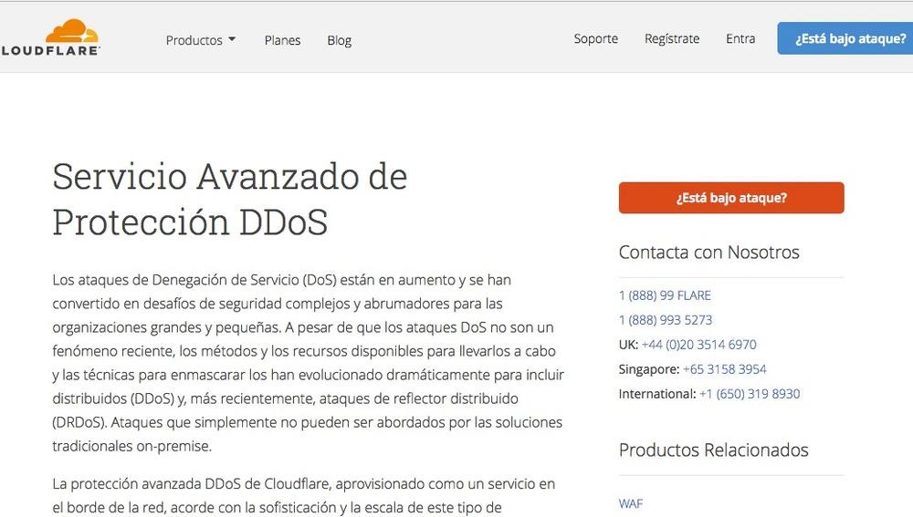 Captura del servicio anti DDoS de la web cloudflare.com