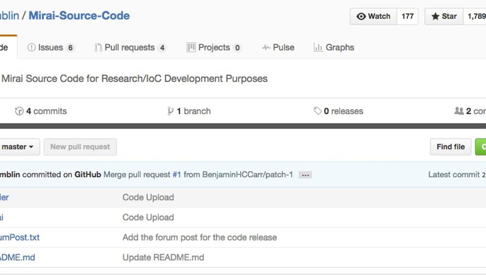 Captura de la publicación del código fuente de la Botnet Miari