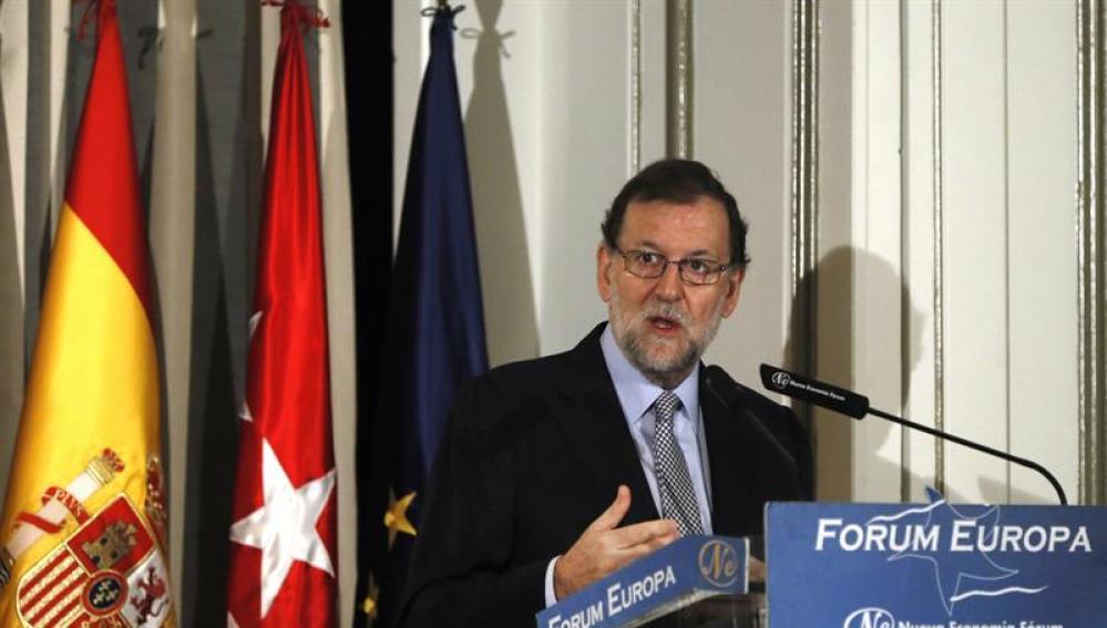 Mariano Rajoy, durante una conferencia