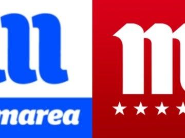 Los logotipos de En Marea y de Mahou