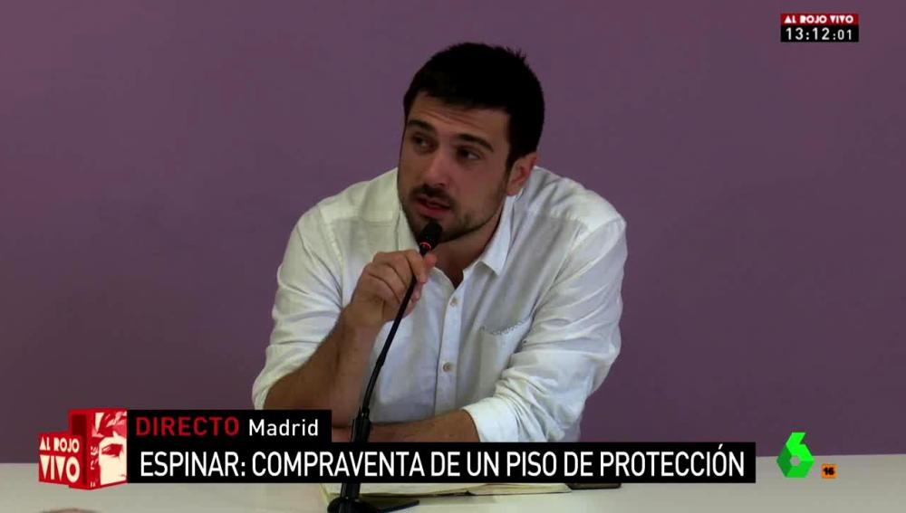 Ramón Espinar en rueda de prensa