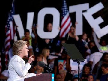 Hillary Clinton durante un acto electoral