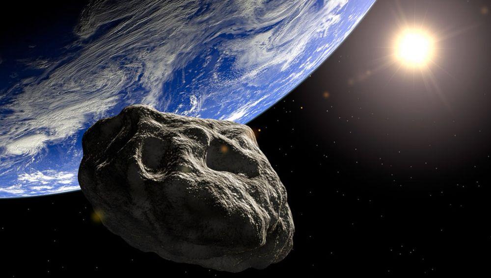 Representación de un asteroide aproximándose a la Tierra