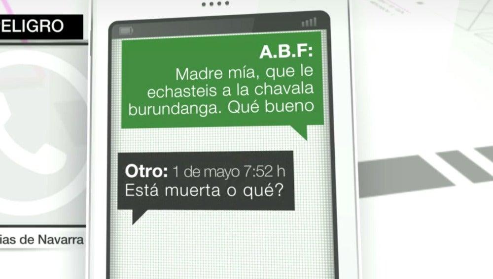 Mensajes en uno de los grupos de Whatsapp de los presuntos violadores de Pozoblanco y San Fermín