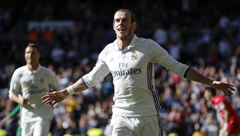 Gareth Bale celebra un gol ante el Leganés