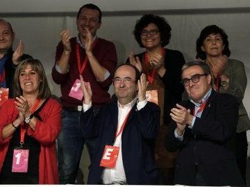 El primer secretario del PSC, Miquel Iceta, junto a la adjunta a la primera secretaría, Nuria Marín