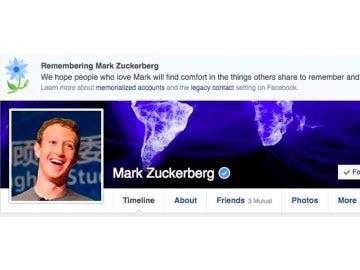 Mensaje de condolencia que Facebook mostró en el perfil de Mark Zuckerberg